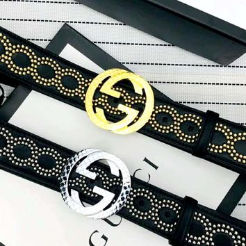 GUCCI 2019 new double G letter head simple men and women models diamond belt