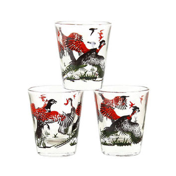 Pheasant Shot Glasses, 1960s Hazel Atlas, Red Black Barware