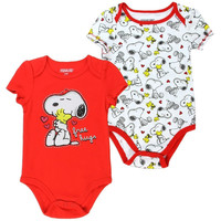 "Snoopy Infant Baby Girls ""Free Hugs"" Creeper Onesuit Bodysuit - 2 Pack"