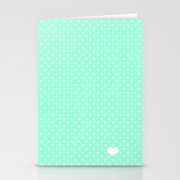 Mint Green and White Polka Dot Stationery Cards by Kat Mun | Society6