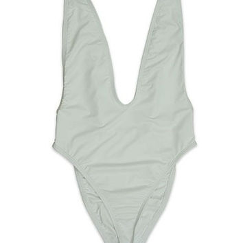Cannes Deep V-Neck One Piece Swimsuit - White