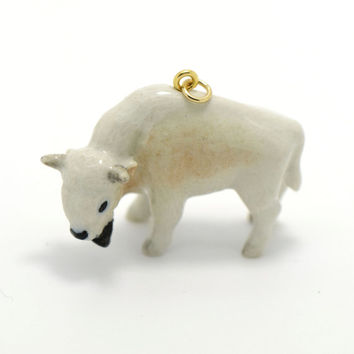 1 - Porcelain White Buffalo Hand Painted Glaze Ceramic Animal Small Bison Bead Vintage Jewelry Supplies Little Critterz Porcelain