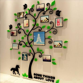 Colorful Family Picture Tree 3D Acrylic Decoration Wall Sticker DIY Art Wall
