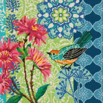 """14""""X14"""" Stitched In Wool Blue Floral Needlepoint Kit"""