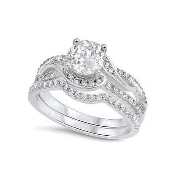 Sterling Silver 7mm Round CZ Swirl Engagement Ring and Band Set