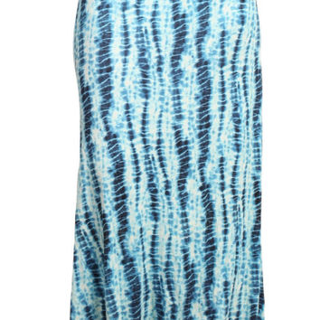Womens PLUS SIZE Blue And White Bamboo Tie Dye Print Long Maxi Skirt