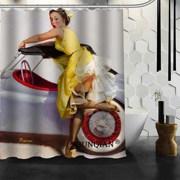 Best Nice Custom Pin Up Girls Art Shower Curtain Bath Curtain Polyester Fabric Bathroom Curtain MORE SIZE A6.1-13