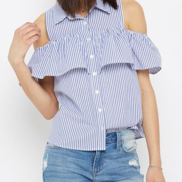 Ruffled Cold Shoulder Button Down Shirt | Blouses | rue21