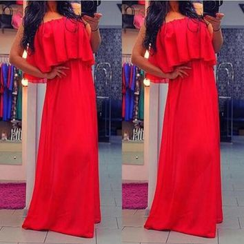 Red Plain Bandeau Pleated Party Maxi Dress