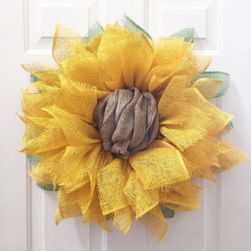 Sunflower Wreath, Burlap Wreath, Spring Wreath, Summer Wreath