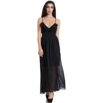 Black Chiffon Maxi Dress by Jawbreaker