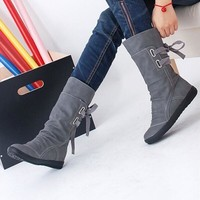 Women Winter Snow Boots Mid-Calf Solid Wedges Ladies Height Increasing Shoes Casual Leather Boot Woman Warm Botas Mujer