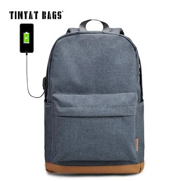 TINYAT Men's 15 inch Laptop Backpack USB Charge School Backpacks Rucksacks Leisure For Teenages mochila Women Travel daypack