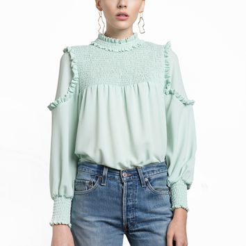 Mint Ruffled Mock Neck Blouse