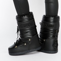 Love Moschino Black Leather Snow Boots