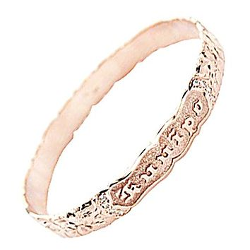 14K Pink Gold 8mm Plumeria Queen Scroll Raise Letter Cut Out Edge Bangle(Thickness 1.0mm)
