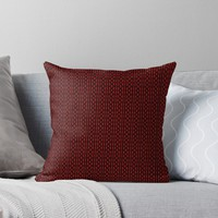 'Red and Black Small Print Zigzagging Pattern' Throw Pillow by Sheila Wenzel