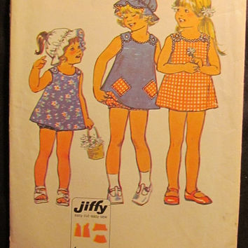 SALE Uncut 1970's Simplicity Sewing Pattern, 6951! Size 2 Toddlers/Girls/Dress with 2 pockets/Panties/Under Garments/Reversible Hats/Bonnets