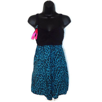 Blue Cheetah Leopard Animal Print Kawaii Dress with Black Bustier and Skull Ribbon Brooch Juniors Large
