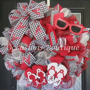 Summer Wreath, Alabama Football Wreath, Roll Tide, Alabama Door Hanger, Wreath for Summer, Front door wreaths, Large Wreath, Ready to Ship