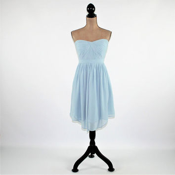 Light Blue Party Dress Chiffon Strapless Dress Short Formal Dress Bridesmaid Dress Prom Dress Size 10 Dress Womens Clothing