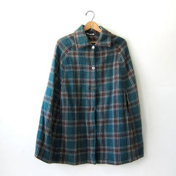 Vintage Wool Cape Coat. Fuzzy Plaid Poncho. Fall Wool Shawl. Button Up Wool Sweater Cape.