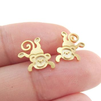 Cute Monkey Chimpanzee Shaped Allergy Free Stud Earrings in Gold | DOTOLY
