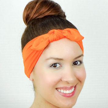 Turban Bow Head Wrap Bow Orange Yoga Headband Fitness Headband Knit Turban Headband Workout Headband Running Headband Cheerleader Headband