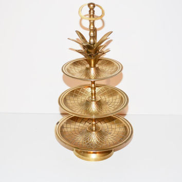 Vintage Brass Pineapple Tray Hollywood Regency Brass Pineapple Tray 3 Tier Tray Tidbit Server Mid Century Barware Pineapple Etagere