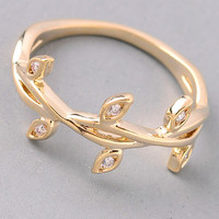 Jeweled Tree Branch Ring - Gold or Silver