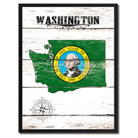 Washington State Flag Gifts Home Decor Wall Art Canvas Print Picture Frames