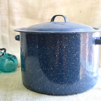 Large enamelware Blue Granite Ware Stock Pot