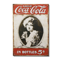"""Decorative Wood Wall Hanging Sign Plaque """"Drink Coca-Cola"""" Red White Home Decor"""