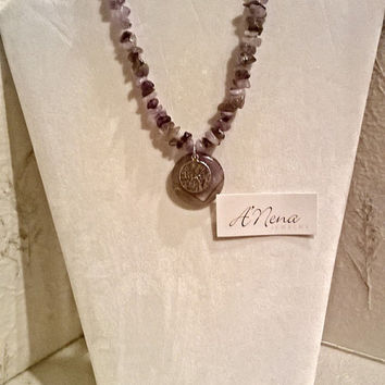 "Necklace For Everyone/ Unisex: Genuine Amethyst & 925 Sterling Silver  "" Peace ""  Reversible By ANena Jewelry"