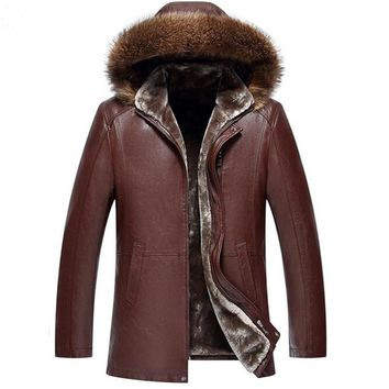 Men fur leather Animal fur Thick PU Leather Hooded Jacket Winter Warm Fur Lining Jackets Outerwear Parka Coats Plus size M-5XL