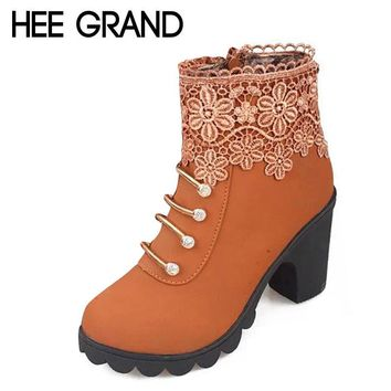 HEE GRAND 2016 Women Boots Fashion PU Leather Round Toe Ankle Boots Sexy Lace Ladies H