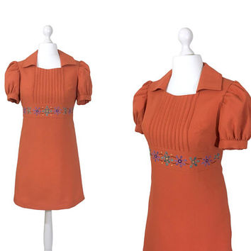 1960's Babydoll Dress | Salmon Red Crepe | Vintage 60's Mini Dress | Puff Sleeves | Embroidered Flowers Waistband