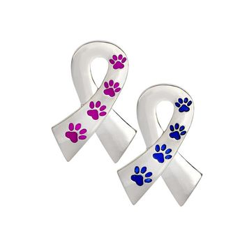 Ribbon Pin Silver Metal Purple Blue Paw Brooch For Women Men Dog Lover Suit Shirt Collar Lapel Pins Fashion Jewelry Gift