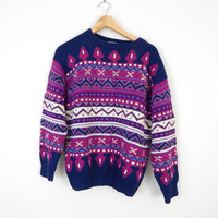 Vintage Peruvian Fair Isle Sweater - Navy Blue and Purple Cotton Baggy Ski Jumper Made in Peru - Size Medium