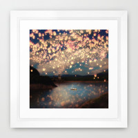 Love Wish Lanterns Framed Art Print by Paula Belle Flores