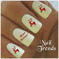 Reindeer Nail Decal 20 Vinyl Stickers Christmas Nail Art