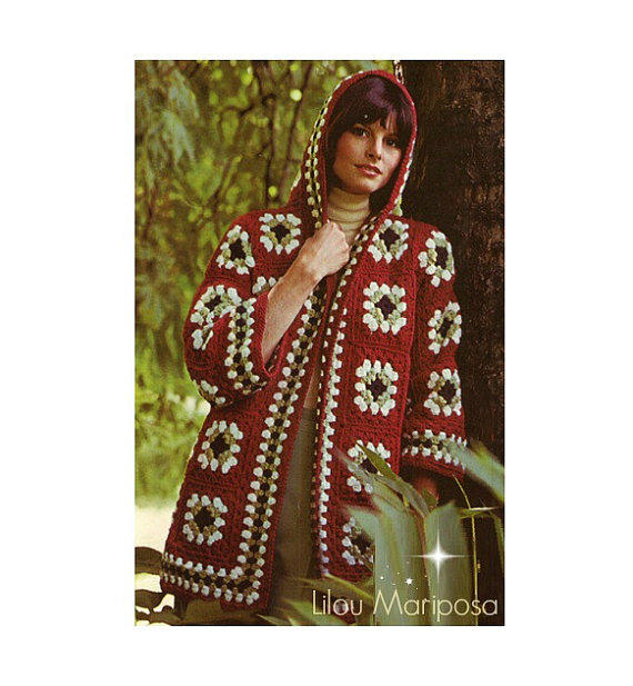 Free Crochet Hooded Cat Pattern : Crochet JACKET Pattern Vintage 70s Hooded from ...