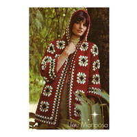 Crochet JACKET Pattern Vintage 70s Hooded Jacket Crochet Cardigan Pattern Crochet Sweater Coat Jacket Granny Square Instant Download
