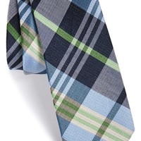 Men's The Tie Bar 'Crystal Wave' Silk & Linen Plaid Tie , Size Regular