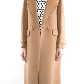 Two-Sided Pure Cashmere & Wool Hand-stitched One Button Notched Lapel Long Coat