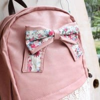 Fashion Cream Backpack with Red Floral Bow & Lace-pink