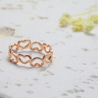 Adorable Hearts Ring - Rose Gold // R002-RG // Rose Gold Plated, Everyday Jewelry, Simple, Chic, Best friend Gift, Birthday Gift