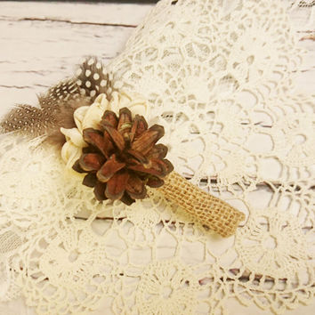 Cream brown rustic wedding Rustic BOUTONNIERE / CORSAGE groom groomsman, Sola Flower, pine cone natural guinea hen feathers custom