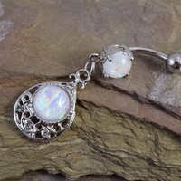 Glitter Opal Belly Button Ring