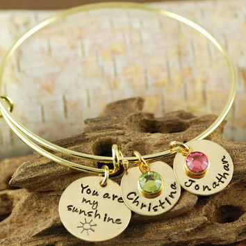 Personalized Bangle Bracelet, You are my sunshine Bracelet - Gold Bangle Charm Bracelet - Alex and Ani Style - Name Bracelet